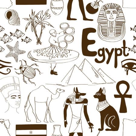 nefertiti: Hand drawn sketch Egypt seamless pattern