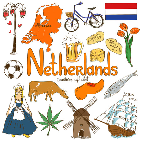 Fun colorful sketch collection of Netherlands icons, countries alphabet Vector