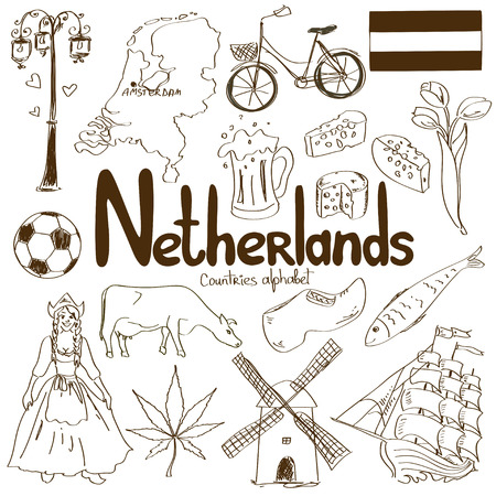 lady cow: Fun sketch collection of Netherlands icons, countries alphabet