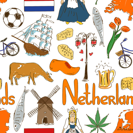 Fun colorful sketch Netherlands seamless pattern Vector