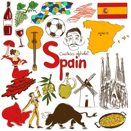 bocetos de personas: Diversi�n colecci�n bosquejo colorido de iconos Espa�a, alfabeto pa�ses