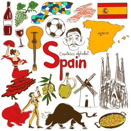 Leuke kleurrijke schets collectie van Spanje iconen, landen alfabet