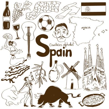 スペインのアイコンは、国のアルファベットの楽しいスケッチ集  イラスト・ベクター素材