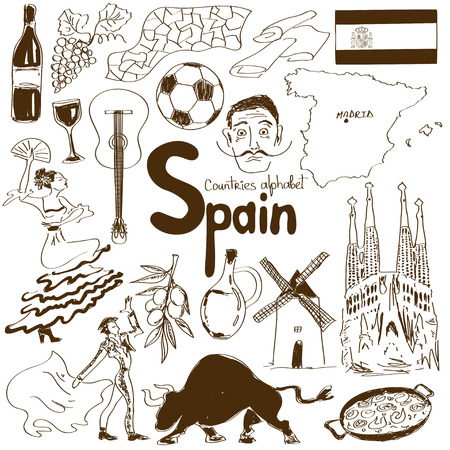 Fun sketch collection of Spain icons, countries alphabet