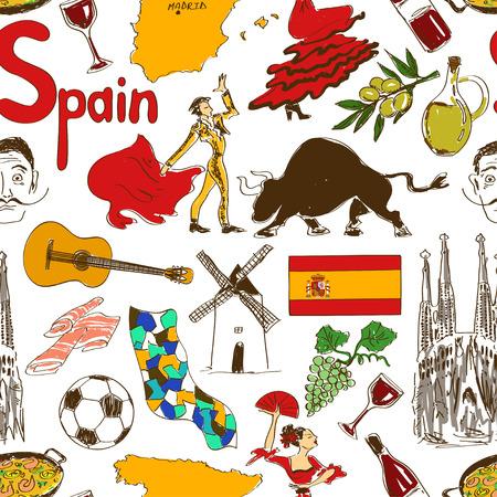Leuke kleurrijke schets Spanje naadloos patroon Stock Illustratie