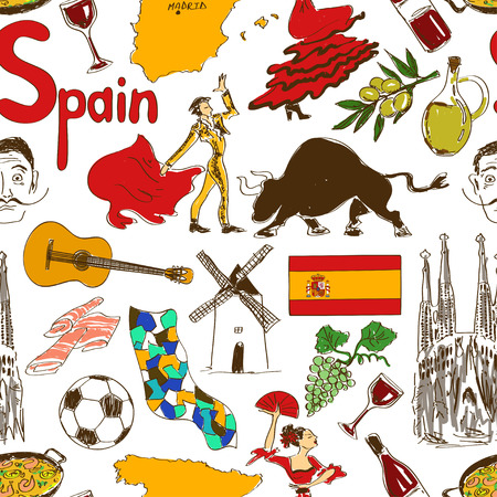 Fun colorful sketch Spain seamless pattern