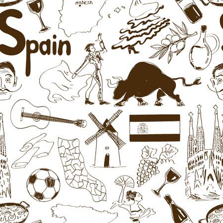 sagrada familia: Fun sketch Spain seamless pattern