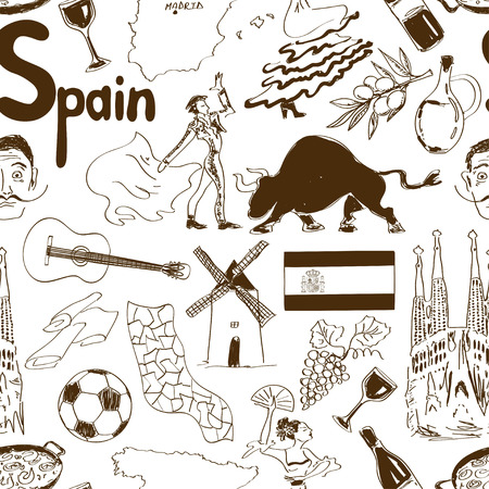 Fun sketch Spain seamless pattern