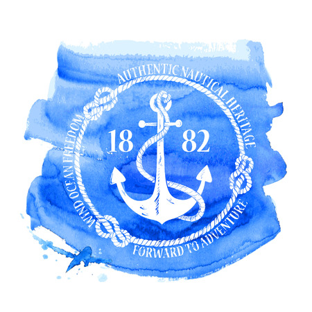 anchor drawing: Blue white nautical emblem with anchor on a watercolor background