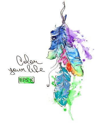 Colorful illustration de vecteur avec des plumes d'oiseaux aquarelle suspendus Banque d'images - 32541177