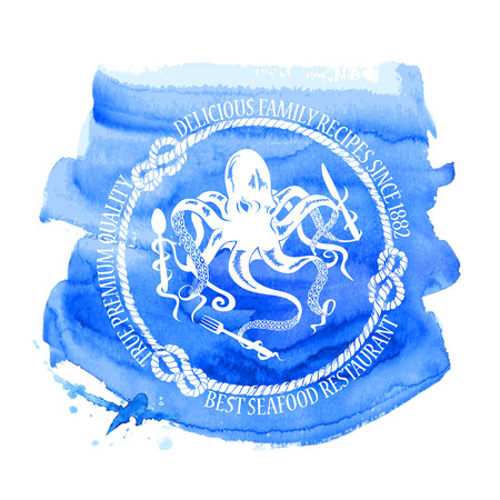 Blue white seafood restaurant emblem with octopus holding fork, knife and spoon on a watercolor background Vector