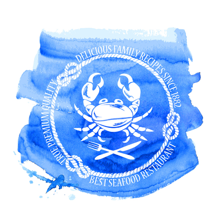 Blue white seafood restaurant emblem with crab, fork and knife on a watercolor background Vector