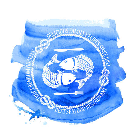 Blue white seafood restaurant emblem with fish, fork and knife on a watercolor background Vector