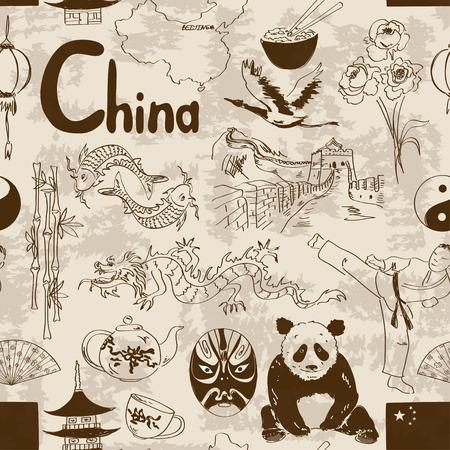 mapa china: Diversión retro sin fisuras patrón chino boceto Vectores