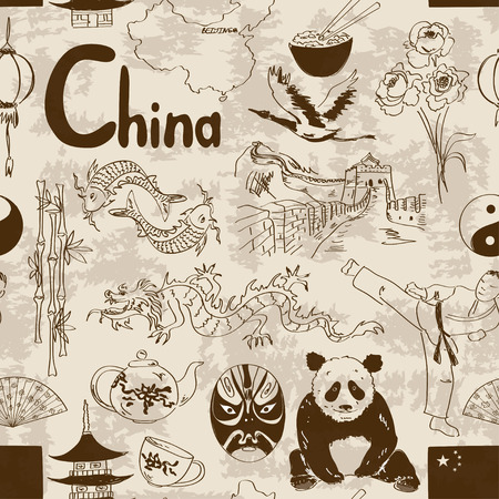 chinese flag: Fun retro sketch Chinese seamless pattern Illustration