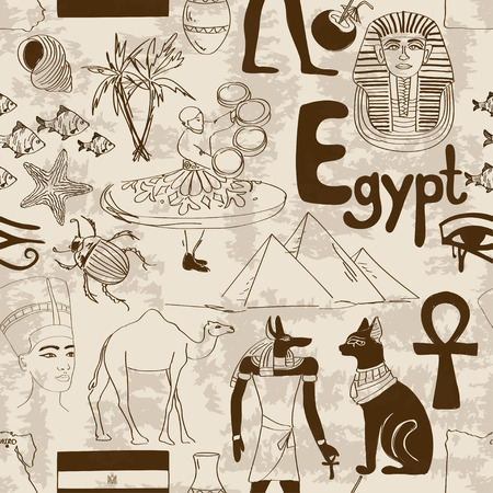 Retro sketch Egypt seamless pattern Vector