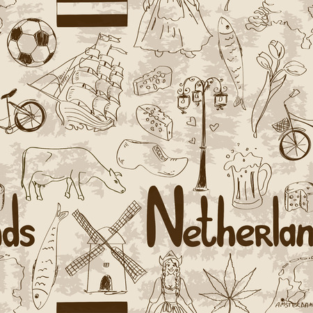 Fun retro sketch Netherlands seamless pattern Vector