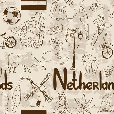 lady cow: Fun retro sketch Netherlands seamless pattern
