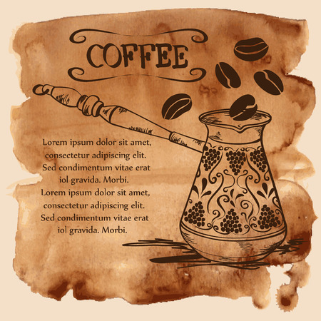 Vector illustration with coffee copper turk and beans on a vintage watercolor background
