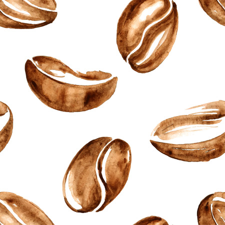 Vector watercolor coffee beans seamless pattern Ilustracja