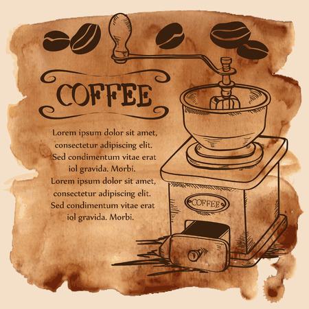 macinino caffè: Illustrazione vettoriale con macinino da caff� e fagioli su un acquerello sfondo d'epoca