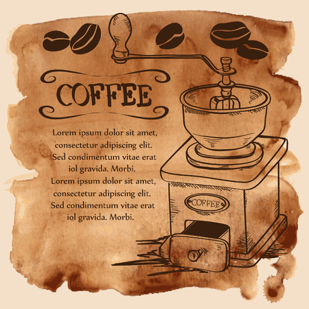 Vector illustration with coffee grinder and beans on a vintage watercolor background