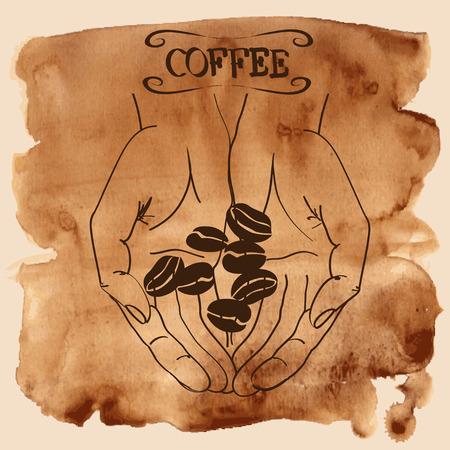 semilla de cafe: Ilustración vectorial con las manos humanas que sostienen los granos de café sobre un fondo de la acuarela de la vendimia
