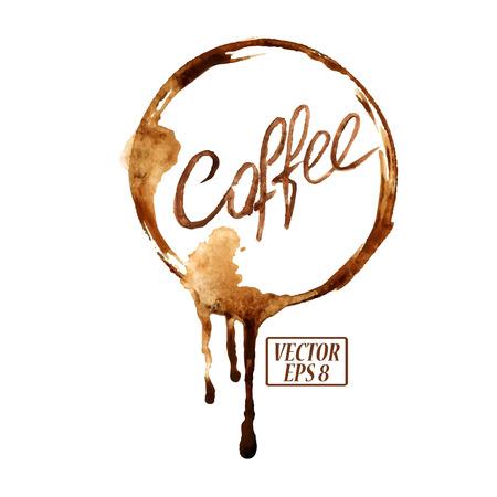 こぼれたコーヒー汚れと水彩のベクトルエンブレム
