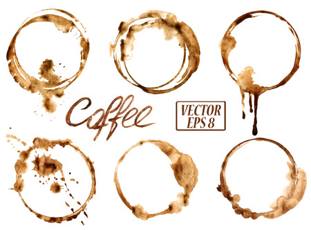 Isolated vector watercolor spilled coffee stains icons Çizim