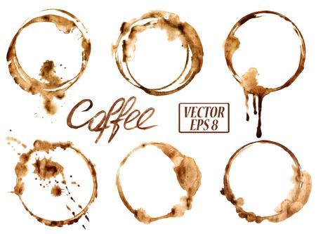 granos de cafe: Vector de la acuarela aislada derramó manchas de café iconos
