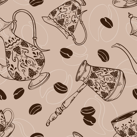 cooper: Vintage coffee seamless pattern with pot, cooper, cup, milk jug and beans
