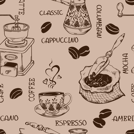 coffee sack: Vintage coffee seamless pattern with pot, grinder, cup, beans, bag and scoop