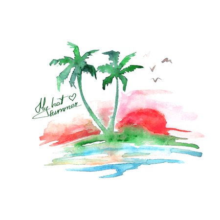 Tropical island with palm trees. Vector watercolor background
