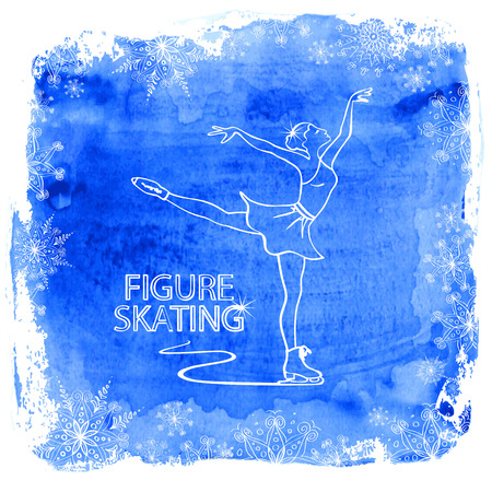Winter illustration with figure skater girl framed by snowflakes on a watercolor background Illustration