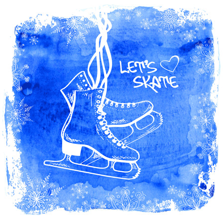 ice skates: Winter illustration with figure skates framed by snowflakes on a watercolor background