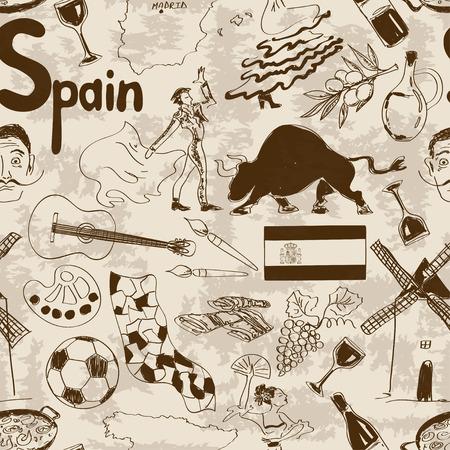 재미 복고 스케치 스페인 원활한 패턴 일러스트