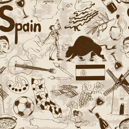 sagrada familia: Fun retro sketch Spain seamless pattern