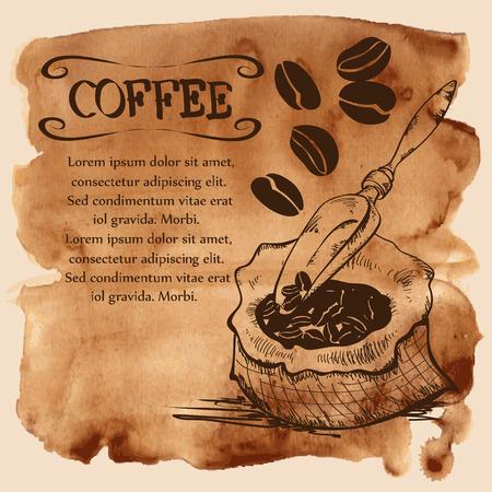 afternoon cafe: Ilustraci�n del vector con los granos de caf�, bolsa y cuchara sobre un fondo acuarela del vintage Vectores