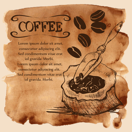Vector illustration with coffee beans, bag and scoop on a vintage watercolor background