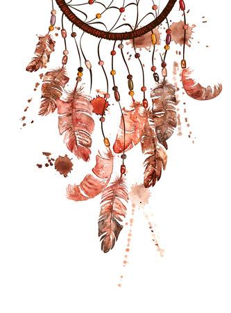 atrapasue�os: Mano acuarela dibujada ilustraci�n �tnica con los indios americanos dreamcatcher