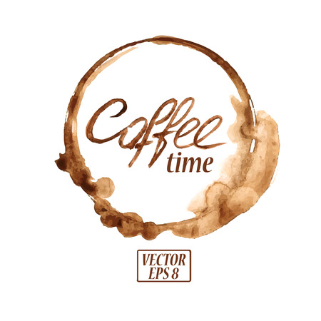 Vector watercolor emblem with spilled coffee stains Vector