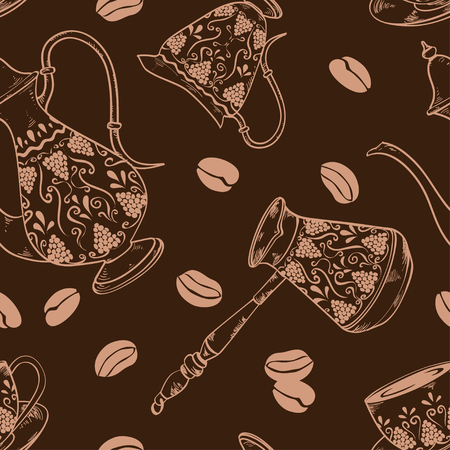 cooper: Coffee seamless pattern with pot, cooper, cup, milk jug and beans Illustration