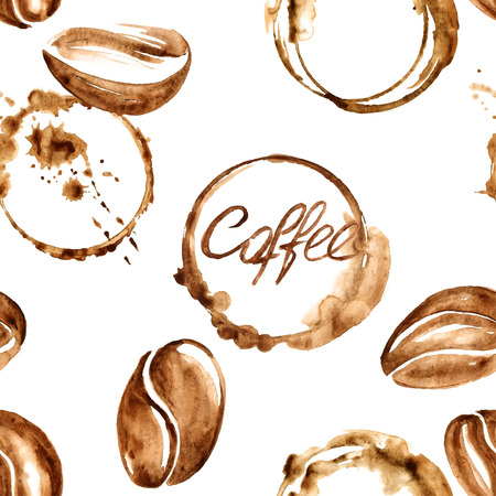 Vector watercolor seamless pattern with coffee beans and spilled coffee stains Vectores