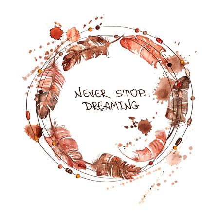 Hand drawn watercolor illustration with bird feathers and beads in a form of circle Vector
