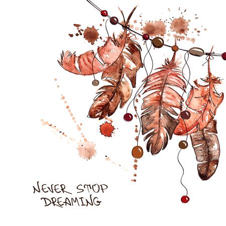 atrapasueños: Dibujado a mano ilustración de la acuarela con la que cuelgan plumas de aves