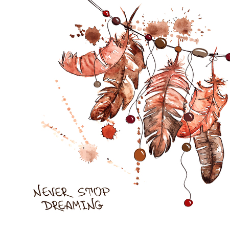 Hand drawn watercolor illustration with hanging bird feathers