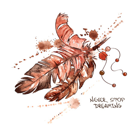 red indian: Hand drawn watercolor illustration with bird feathers