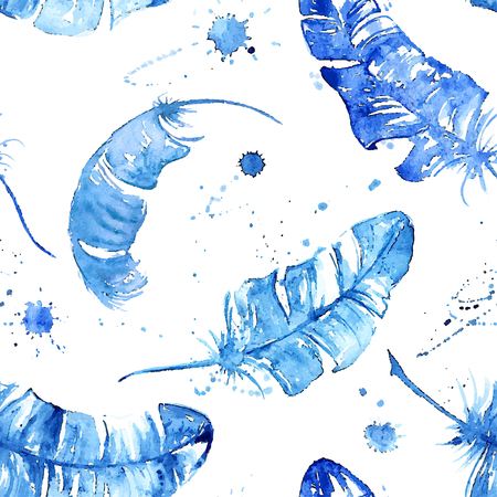 Seamless pattern with blue watercolor feathers, blots and stains
