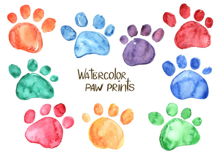 dog track: Set of isolated hand drawn watercolor animal footprints