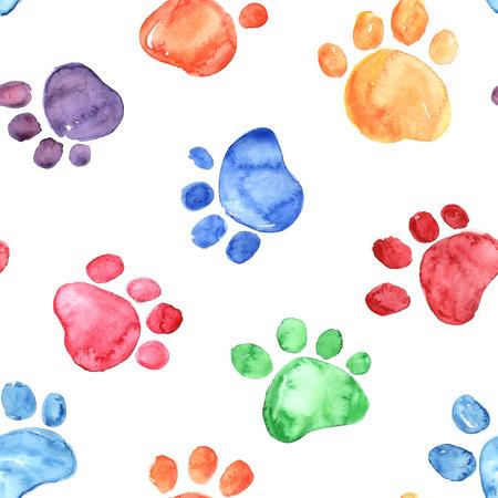 동물 발자국 다채로운 손으로 그린 수채화 그림